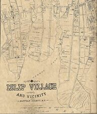 Islip Village NY 1888 Maps with Businesses and Homeowners Names Shown