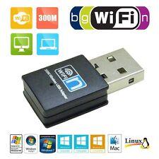 For Desktop PC Mini 300Mbps USB Wireless WiFi Lan Network Receiver Card Adapter