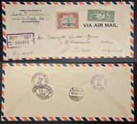 1929 US USA Airmail Flight Cover Los Angeles to Basel Switzerland via New York
