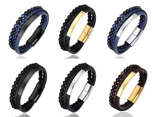 Leather Beads Bracelet Stainless Steel Magnetic Clasps Men gifts