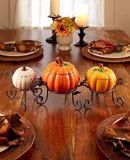 3 Pc Ceramic Pumpkin Centerpiece Set Treat Bowls Thanksgiving Fall Harvest Decor