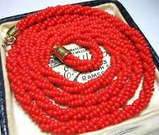 """VINTAGE 1950's Bright RED GLASS BEAD 3 Row Rope Jewellery 30"""" Long NECKLACE"""