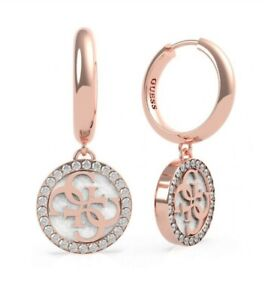 Guess Golden Hour Rose Gold With White Logo Hoops with box