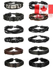 12-16 Pcs Braided Leather Bracelets for Men Women Cuff Bracelet Adjustable