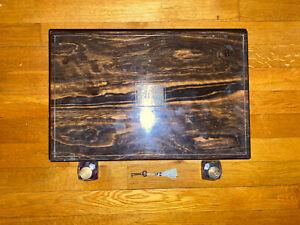 Antique Coromandel Brass Inlay Writing Slope Lap Desk Box with Key