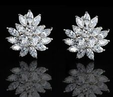 Glamorous Faux Diamond Cluster Silver Clipon CLIP ON Crystal EARRINGS UK