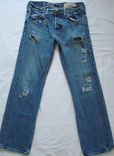 HOLLISTER Balboa Classic Straight Button Fly Jeans Destroyed 30 x 32