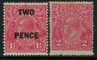 Australia kgv heads TWO PENCE OP 2d 1d 1 1/2d smw single wmk mint MH x 2 stamps
