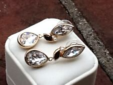 Swarovski Crystal Glass Dressy Gold Clear Black Pierced Earrings