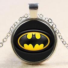 Avenger Batman American Hero Shield Glass Cabochon Pendant Chain Necklace H8