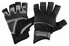 Professionelle Rigger Handschuhe Größe XL mit kurzen Fingern, Kunstleder Schwarz
