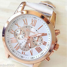 Fashion Geneva Roman Numerals Faux Leather Analogue Quartz Wrist Watch