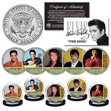 ELVIS PRESLEY 1960's-70's Music Hits Genuine JFK Kennedy Half Dollar 5-Coin Set