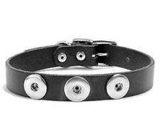 Ginger Snaps 3-Snap Medium Dog Collar SN90-31 Black Leather Interchangeable Snap