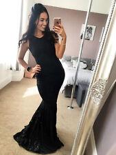 Damas Lentejuelas Negro Encaje punta plana de Fiesta de Noche de Boda Vestido Maxi Mujer Reino Unido ❤
