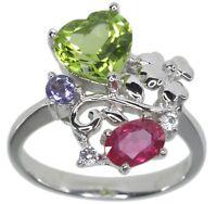 Peridot Heart Ruby Tanzanite Gemstone Sterling Silver Ring size N