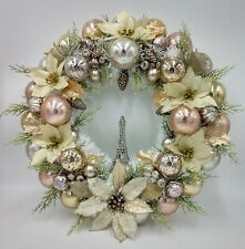 Parisian Poinsettia Christmas Ornament Wreath