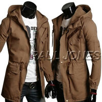 Cool Men's Military Jackets Cotton Long Jacket Winter Trench Coat Hooded Outwear
