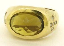 Vintage heavy 18K gold 4.15CTW diamond/citrine hand hammered cocktail ring