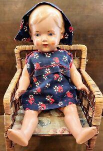 "1930s GERMAN SCHILDKROT Vintage Celluloid Doll Turtle Mark #34, orig. dress, 13"""