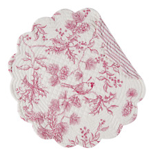 EVERGREEN TOILE  Quilted Reversible Christmas Round Placemat by C & F