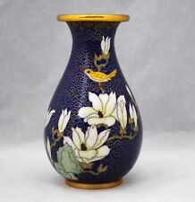 Vintage Cloisonne Vase with Yellow Bird & White Flowers on Blue Ground