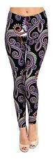 Printed Brushed Leggings - Purple White Paisley