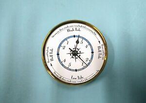MEGA QUARTZ TIDE ONLY CLOCK INSERTION MOVEMENT 100mm Brass Bezel Blue rope dial