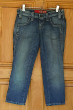 Guess Ladies Size 24 (W28 L22) Low Rise Skinny Distressed Cropped Blue Jeans
