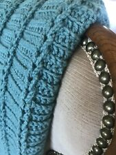 Handmade Afghan, Throw, Blanket Knit Crochet DarkTurquoise Blue Farmhouse decor