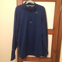 Men's Nike Dri-Fit Long Sleeve Running Half-Zip Top T-shirt Size XL Blue Jacket