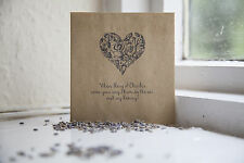 10 Vintage Confetti Bags Personalised/ Shabby Chic Wedding favours Heart Design