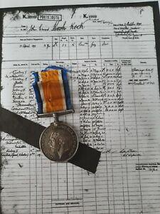 WW1 British War Medal to Sto.1 John Ernest Koch, Royal Navy, Bow, London man
