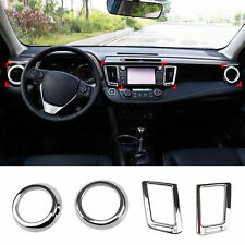 Fit For Toyota RAV4 13-17 Chrome Front Dashboard Air Vent Cover Trim Garnish 4pc