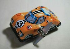"""Vintage Tin Toy New Japan Sanko 3"""" Metal Wind Up Auto Turn Yellow Ford Race Car"""