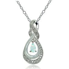 925 Silver Created White Opal and white Topaz Infinity Twist Teardrop Necklace