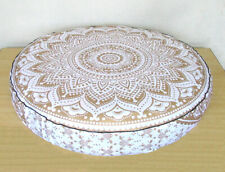 "Round Mandala White Gold 35"" Floor Cushion Cover Pillow Meditation Case Bohemian"