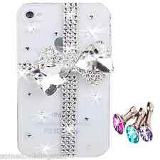 NEW BLING 3D BOW CLEAR DESIGNER DELUX DIAMANTE STYLISH CASE COVER 4 IPHONE 4 4S