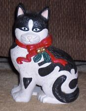 Christmas Cat Cast Iron Door Stop Antique - EUC!