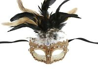 Women's Greek Goddess Elegant Gold Venetian Feather Masquerade Mask NEW FLM005GD