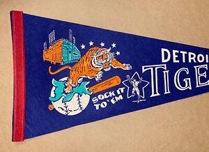 Vintage 1968 SOCK IT TO 'EM Tigers pennant Detroit Tigers