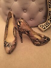 Topshop STARE2 Platform High Heel Court Shoes Snake Skin Animal Size Uk 4/37 *