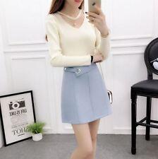 Fashion Korean Women V Neck Pearl Pendant Long Sleeve Slim Sweater Tops White