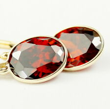 Garnet CZ, 14KY Gold Leverback Earrings, E101-Handmade
