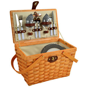 Frisco Traditional American Style Picnic Basket w/ Service for 2 - Black Gingham