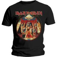 Official Iron Maiden T Shirt Powerslave Lightning Circle Classic Rock Metal Tee
