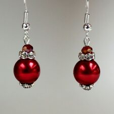 Red large pearl earrings crystal silver drop earrings wedding bridesmaid gift