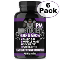 Monster Test Testosterone Booster PM Sleep Aid Pill 6 Pack Angry Supplements