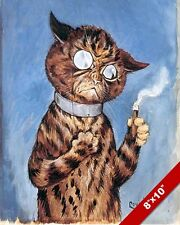 SMOKING SOPHISTICATE TOMCAT TOM LOUIS WAIN PAINTING CAT ART REAL CANVAS PRINT