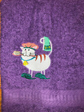 Embroidered Purple Bathroom Hand Towel Shower Cap Cat Slippers White Cat HS1549